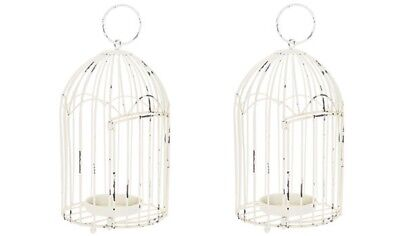 Distressed White Metal Bird Cage Lanterns x 2, Wedding Venue Decor!
