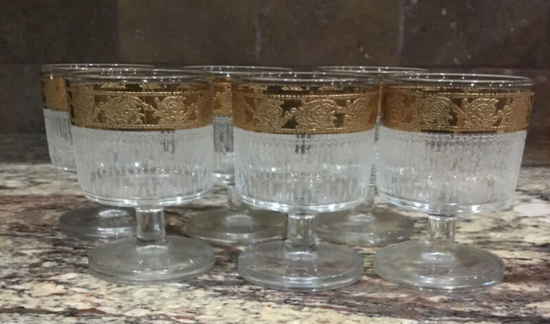 """6 CULVER 22 KT GOLD CORDIAL TYROL GLASSES VERTICAL FROSTED RIB LINES 3 1/2""""T"""