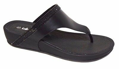 TS shoes TAKING SHAPE sz 8 / 39 Black Capri Slide crystal wedge thongs comfy NIB