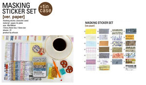 Washi Masking Tape Craft Stickers Tin Set Scrapbooking Labelling Diary Deco Gift