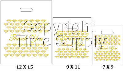 WHITE & GOLD PLASTIC BAGS STORE BAGS JEWELRY BAGS