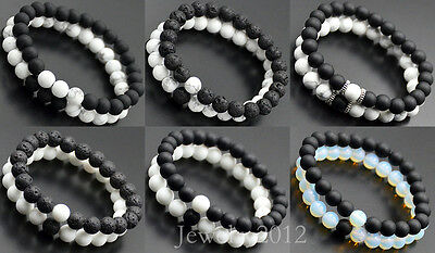 Couples His Hers Distance Bracelet Lava Bead Matching YinYang Anniversary Gift