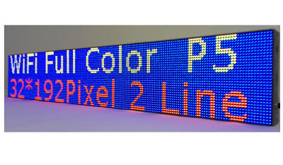 Led Sign Wifi P5 Hd Full Color 38x 6.5 Programmable Scrolling Message Display
