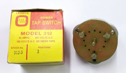 "NEW Ohmite 312-3 1 Pole, 3 Position Power Tap Switch 1/4"" Shaft"