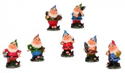 Die sieben Zwerge 7 lustige Figuren für Haus und Garten je 9cm gross Gartenzwerg