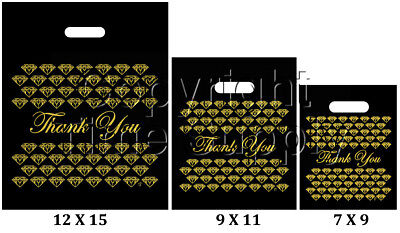 BLACK & GOLD PLASTIC BAGS STORE BAGS JEWELRY BAGS
