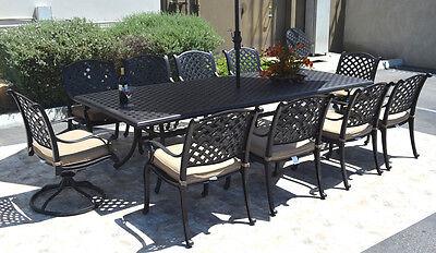 Nassau Patio - Nassau 10 person cast aluminum patio dining set rectangle table 46 x 120