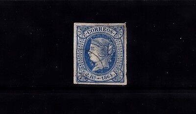 SPAIN 1864 IMPERF ISSUE 2r BLUE/WHITE 4 MARGIN USED