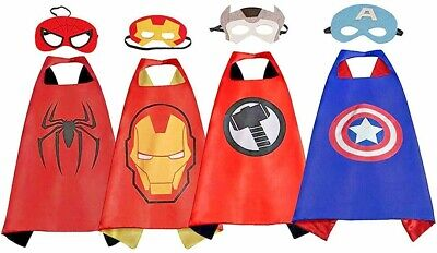 4 Set Superhero Capes with Masks Dress Up Costumes for Kids Party Favors Cosplay](Capes Superhero)