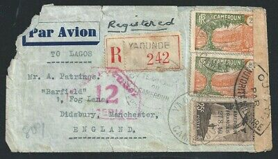1941 WW2 Registered Cover Yadunde French Cameron to Manchester UK MilitaryCensor