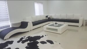 Modern leather sofa black and white Craigieburn Hume Area Preview