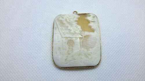 LARGE Antique Gold Mounted 10K Shell Carved Cameo House Home Pendant