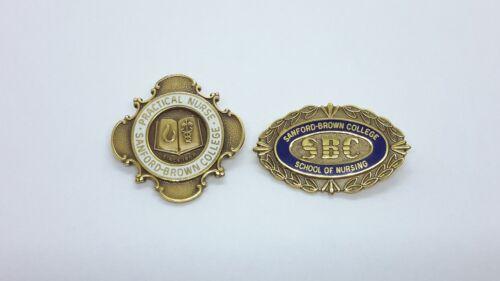 Vintage Sanford Brown College Nurse School Nursing Pins 10K Yellow Gold Filled