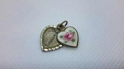 925 Sterling Silver And Pink Enameled Bird Charm Pendant 15mm x 14mm