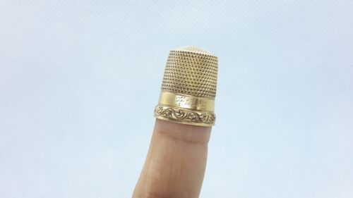 Antique Gold Simons Brothers Thimble Size 11. Inscribed Mono