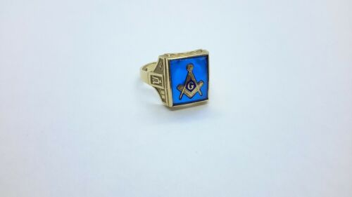 "Vintage 10K Yellow Gold Gothic Kinsley Masonic ""G"" Ring Size 11.25. Blue Spinel"
