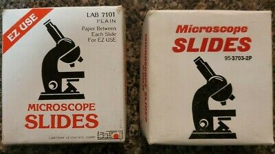 2 Boxes 72 60 Plain Glass Microscope Slides Paper Between 1 X 3 - 1mm