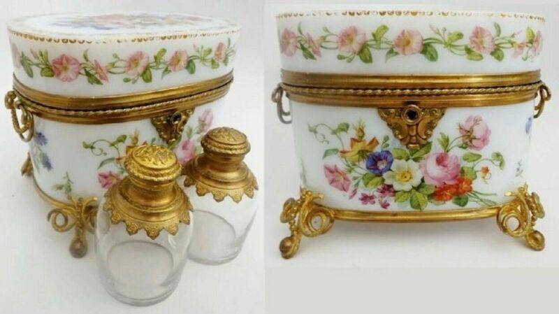 Baccarat Hand Painted Opaline Scent Casket  A MASTERPIECE