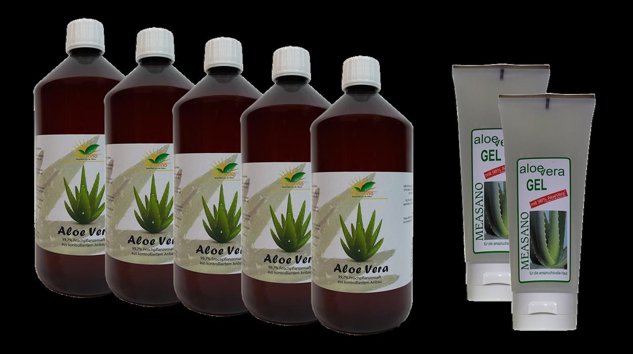 5 x 1000 ml  Aloe Vera DIREKTSAFT 99,7% + 2 x 200 ml Hautgel 98% - Paketangebot