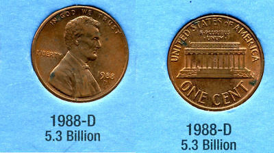 1988 D ABE Lincoln Memorial AMERICAN PENNY 1 CENT US U.S AMERICA ONE COIN #B1 for sale  Westlake