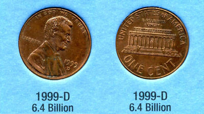1999 D ABE Lincoln Memorial AMERICAN PENNY 1 CENT US U.S AMERICA ONE COIN #B1, used for sale  Westlake