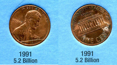 1991 P ABE Lincoln Memorial AMERICAN PENNY 1 CENT US U.S AMERICA ONE COIN #B1 for sale  Westlake