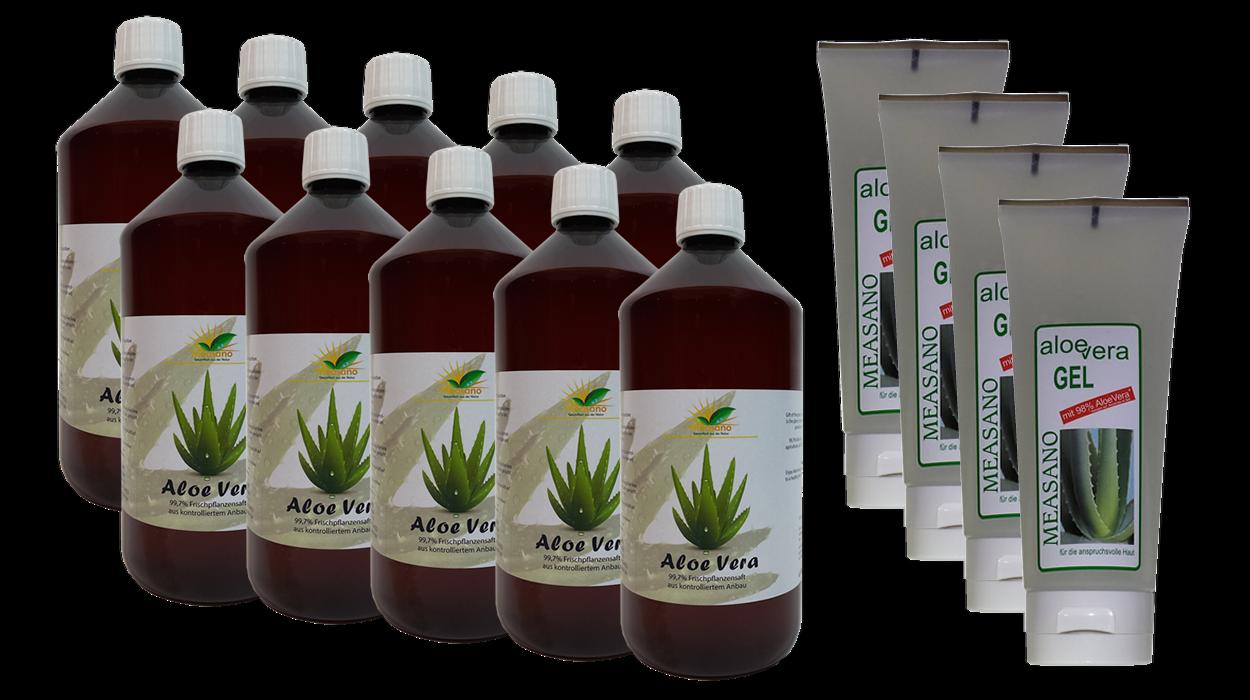 10 x 1000 ml  Aloe Vera DIREKTSAFT 99,7% + 4 x 200 ml Hautgel 98% - Paketangebot