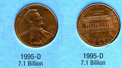 1995 D ABE Lincoln Memorial AMERICAN PENNY 1 CENT US U.S AMERICA ONE COIN #B1, used for sale  Westlake
