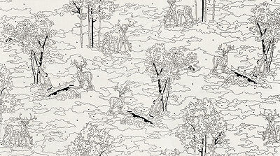 White Alpine Fabric (Alpine Deer Creme White Birch Paint by Numbers by the yard 100% cotton  26045)