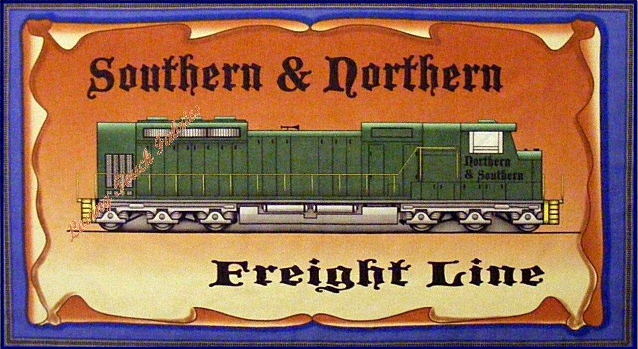 Avlyn all aboard southern northern freightline train for Train themed fabric
