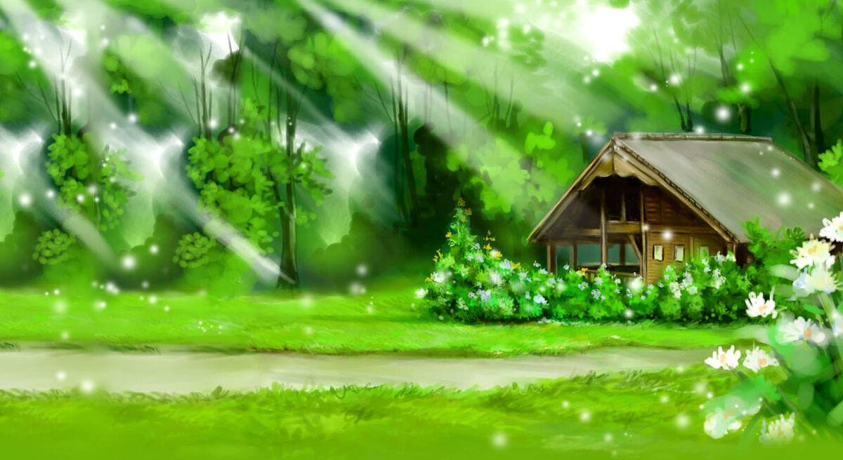 Домик с полянкой картинки