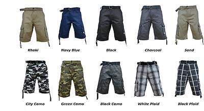 NWT PRO CLUB TWILL CARGO SHORT PANTS CASUAL MILITARY BDU MENS 30-64 100% COTTON