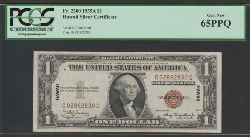 "Fr.2300 1935A $1 HAWAII ""WWII EMERGENCY ISSUE"" PCGS 65PPQ GEM NEW UNCIRCULATED"