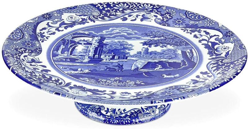 "Spode Blue Italian Footed Cake Plate, Porcelain, 10.5"" - Blue White"