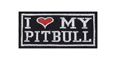 I Love my Pitbull Patch Biker Rocker Aufnäher Kutte Hund Tierlieb Treu Stolz ()