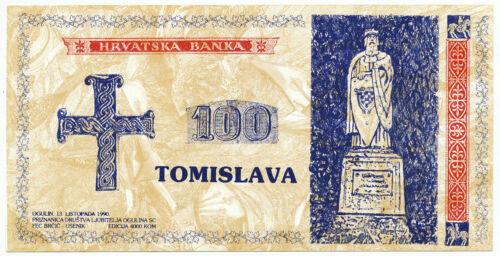 CROATIA, HRVATSKA - 100 Tomislava proposal propaganda banknote 1991. UNC. (C026)