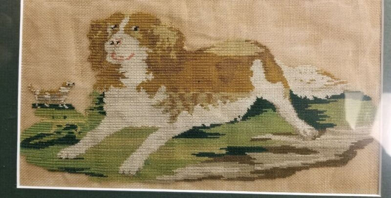18TH CENTURY ANTIQUE SAMPLER KING CHARLES CAVALIER DOG