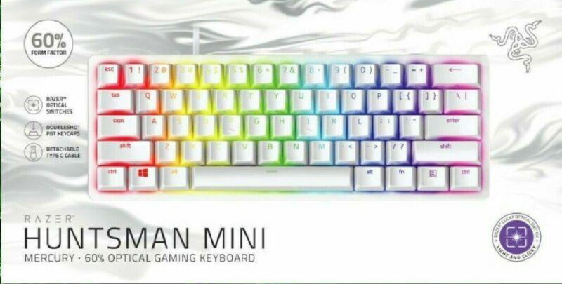 Razer Huntsman Mini Clicky Optical Switch Mercury 60% Gaming Keyboard - NEW