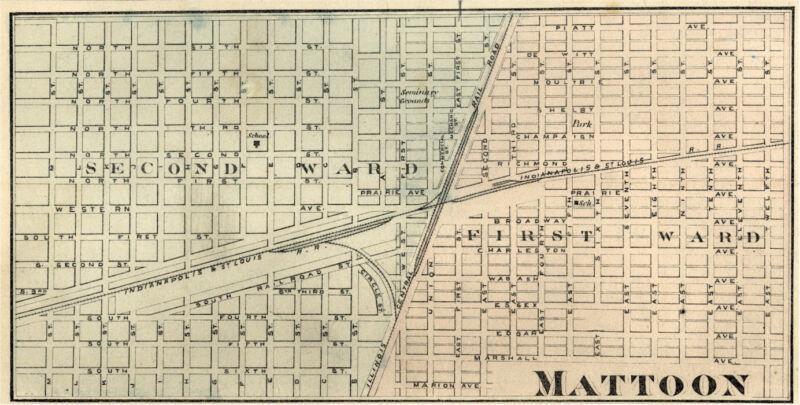 Mattoon Illinois Coles Co IL 1876 Map  Genealogy