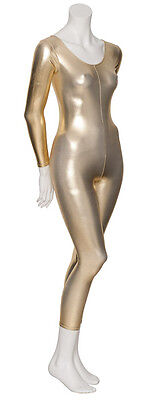Gold Metallic Tanz Kostüm Langärmeliger Catsuit Trikot KDC017 von - Gold Ballett Kostüm
