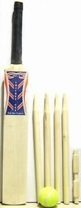 Wooden Full Cricket Set Bat Size 5 Ball & Stumps Children Garden Fun