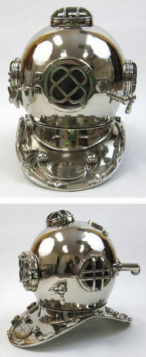 """Chrome Plated Aluminum Mark V Dive Helmet, 18"""""""