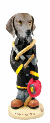 Weimaraner Firefighter Stone Resin Figurine Statue
