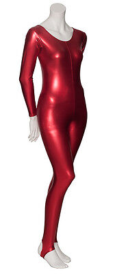 Red Metallic Halloween Devil Fancy Dress Unitard Catsuit Costume Outfit KDC012