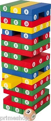 Zahlenturm Wackelturm aus Holz Würfelspiel Gesellschaftsspiel 7,5 x 7,5 x 24 cm