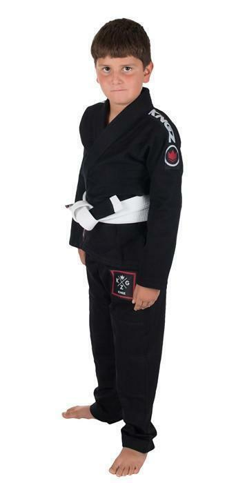 KINGZ Kinder BJJ Gi Basic Jiu Jitsu Gi Schwarz Kimono Uniform Jugend Gratis G/ürtel