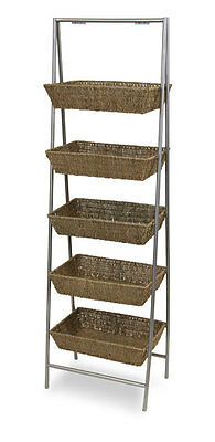 5-Tier Wicker Basket Floor Standing Bulk Impulse Store Display Fixtures NEW
