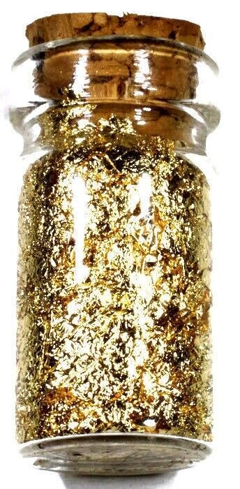 (20) .5 ML GLASS JARS OF 24K GOLD  LEAF FLAKES LOT X 20 FREE SHIPPING
