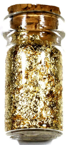(100) .5 ML GLASS JARS OF 24K GOLD LEAF FLAKES LOT X 100 FREE SHIPPING