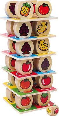 Früchteturm Holz Wackelturm Stapelspiel Würfelspiel  Früchte-Turm für Kinder Neu